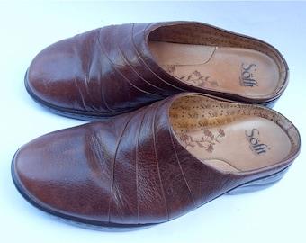 Vintage Brown Leather Shoes Vintage Leather Brown Shoes Vintage Ladies Brown Sandals Vintage Brown Ladies Softt Shoes Ladies Brown Flat Shoe