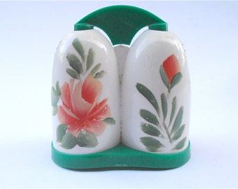 Vintage Retro Floral Green White Salt Pepper Shakers Vintage Peach Flower Acrylic Plastic Pepper Salt Shakers Vintage Salt And Pepper Shaker