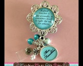 TEACHER  PERSONALIZED Bezel Id Badge Reel, Necklace Pendant Or Keychain In  Blue With Additional Charm Pendant
