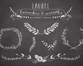 CHalkboard Laurel & Wreath design elements - for personal or photography use - INSTANT DOWNLOAD