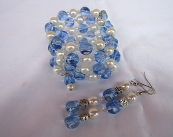 Topaz and Ivory pearl color glass beaded wrap around bracelet with matching earrings