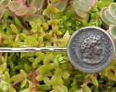 vintage button silver coin bobby pin