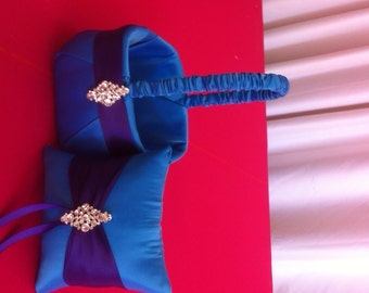 Cobalt Blue  with Purple Flower girl basket and pillow