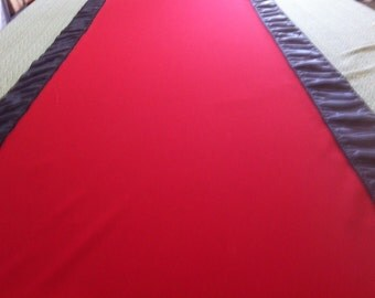 Custom Made Aisle Runner Two Colors Red Gabardine and Black Satin Accents 50 feet Long