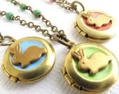 Bunny locket necklace Little girl pendant necklace Bunny necklace Flower girl Kids jewelry Personalized locket Tiny locket Christmas gift