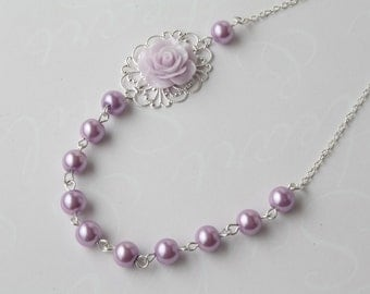 Bridesmaid necklace, vintage style flower necklace, lilac lavender purple pearl and rose necklace, purple wedding jewelry, rose necklace