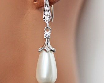 White Pearl Drop Wedding Earrings, Bridal Earrings, Bridesmaids Pearl Earrings, Rhinestone Pearl Wedding Jewelry