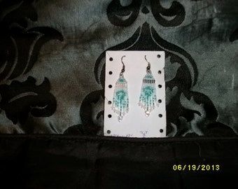 Turquoise n Silver n White Earrings