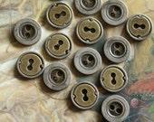 15 Vintage RARE Brass DECO Steampunk Button Pendants