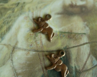 2 Vintage Delicate Old Brass Elephant Pendants
