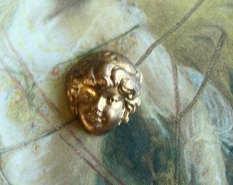 Vintage Beautiful Brass Art Deco Cherub Floral Piece