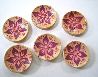 SALE Wood Button Hand Painted Lot of 2