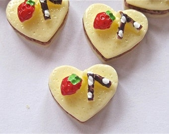 Cake Hearts Flat Back Cabochons Lot of 4