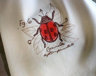 Victorian Entomology style design of Ladybug embroidered towel