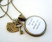 The Lord is my refuge and strength charm necklace, scripture jewelry, Christian jewelry, psalm 46:1