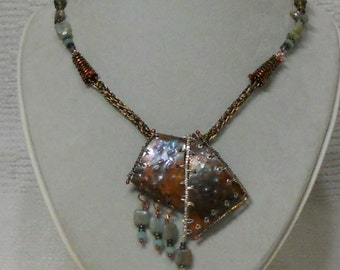 E528 OOAK Mixed Metals Pendant Wire Wrapped, Annealed and Forged Copper, Beaded Necklace, Viking Knit Chain