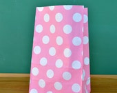 CLEARANCE SALE Baby Pink Polka Dot Stand Up Paper Bags -12- Candy Buffet, Party Favor, Wedding Favor - 5 x 7 Flat Bottom Bags