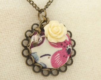 Liberty print and rose charm necklace