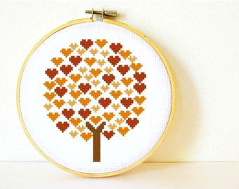 Counted Cross stitch Pattern PDF. Instant download. Deciduous Tree of Hearts. Includes easy beginner instructions.