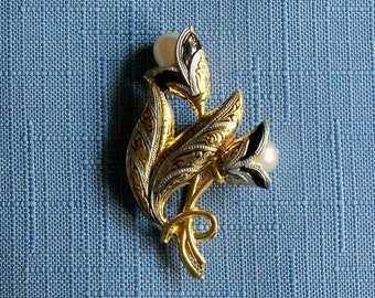 Vintage Brooch Damascene Flower Buds Wedding Jewelry Bridal Party Sash Special Occasion Gift Idea