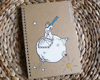 LITTLE PRINCE NOTEBOOK, handpainted journal notebook -spiral bound- le petit prince
