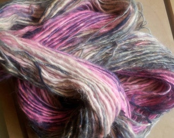 Lavender's Blushing Hand dyed Hand spun Single ply Yarn