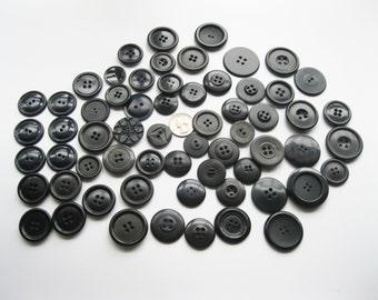 Vintage Black Buttons Lot - 6 oz -- FL/CT
