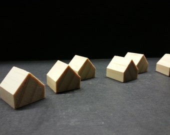 8 miniature wooden houses . pine wood houses . little houses . little wooden houses. miniature houses . little cottages . doll house decor