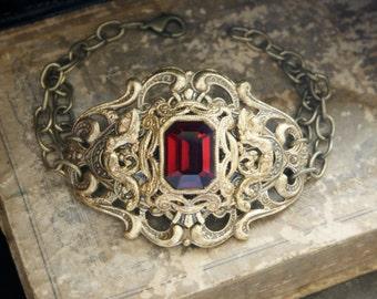 Filigree Bracelet Gold Filigree Cuff Bracelet Gothic Victorian Steampunk Cuff Bracelet Filigree Antique Style Gold Ruby Gothic Jewelry Gift