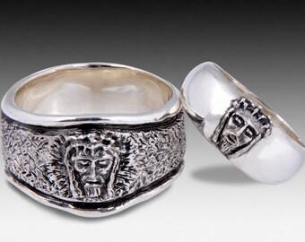 jesus wedding ring set custom sterling silver wedding ring set - Skull Wedding Ring Sets