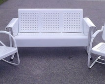 Vintage Metal Porch Glider Set With Chairs Restored Powdercoated Free Shipping