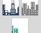 Buildings Nursery Decor // City Skyline Nursery Wall Art // City Scape Art // Skyline Decor // Skyline Nursery Art 3-8x10 PRINTS ONLY