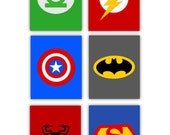 "Super Hero Art for Kids // Super Hero Decor // Super Hero Nursery Decor // set of 6-4""x6"" prints"