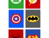 """Super Hero Art for Kids // Super Hero Decor // Super Hero Nursery Decor // set of 6-4""""x6"""" PRINTS ONLY Unframed"""