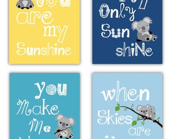 Koala Nursery Art - You Are My Sunshine Art - Nursery Art Prints - Koala Art for Kids -  4-8x10 PRINTS ONLY