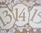 Gold and Ivory / Cream Flat or Freestanding Table Numbers- Choose Your Colors