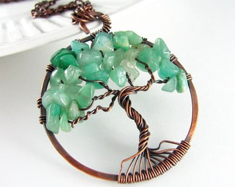 Tree Of Life Pendant Wire Wrapped Jewelry Green Aventurine Necklace Copper Jewelry Wire Wrapped Pendant Tree of Life Necklace