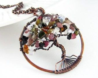 Tree Of Life Necklace Wire Wrapped Jewelry Tourmaline and Moonstone Copper Jewelry Tree Necklace Wire Wrapped Pendant Copper Necklace