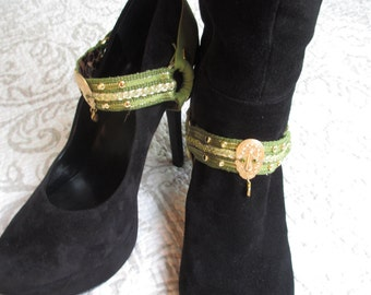 Bootstraps Shoe Jewelry Olive Gold Tone Studded Interchangeable