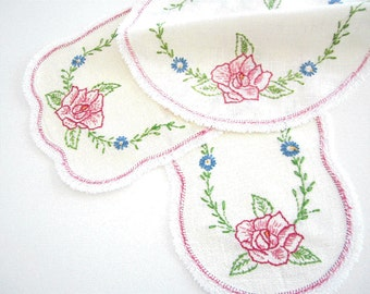 Set of Three 3 Vintage Hand Embroidered Table Runners, Doilies, Dresser Scarfs Serving Linens in Pink Rose Green and Blue