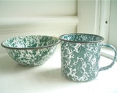 Vintage Enamel Bowl and Cup Set, Green and White Speckles and Swirls