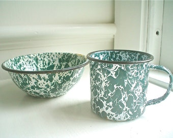 Vintage Enamel Bowl and Mug Set, Green and White Speckles and Swirls