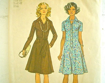 Swingy 1970s Dress Pattern Simplicity 6155 Vintage Sewing Pattern Bust 42