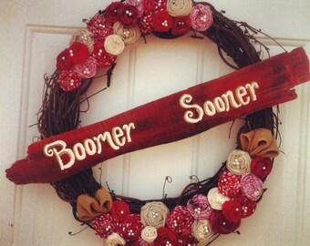 "Large Crimson & Cream ""Boomer Sooner"" Wreath With Hand-painted Barn wood Sign"