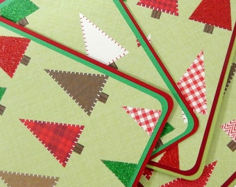 Christmas Trees: Notecard Set of 4 with Matching Embellishment Envelopes