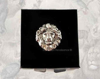 Square Metal Pill Box Majestic Lion Inlaid in Hand Painted Enamel Leo Neo Victorian Inspired Custom Colors and Personalized Options