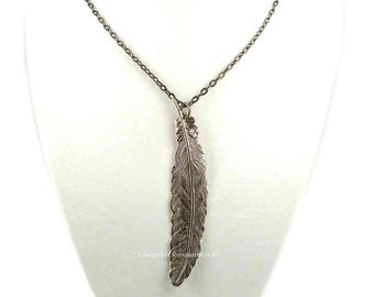 Long Ravens Feather Necklace Antique Sterling Silver Neo Victorian Jewelry Choose your Chain Length