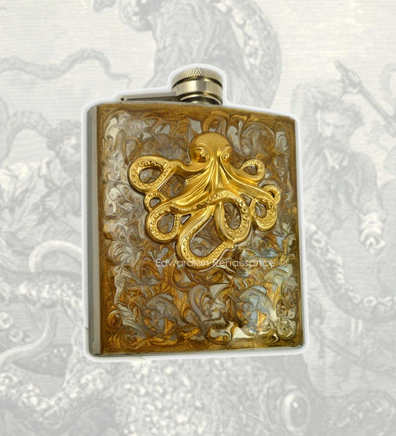 Octopus Flask Steampunk Inlaid in Hand Painted Enamel Gold Swirl Design Neo Victorian Kraken Hip Flask Custom Colors and Personalized Option