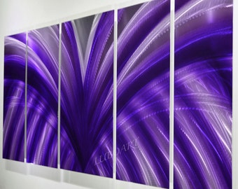Metal Purple wings fly Painting Modern Violet bright Abstract Wall Decor Contemporary 3D moving effect elegant unique Original handmade Lubo