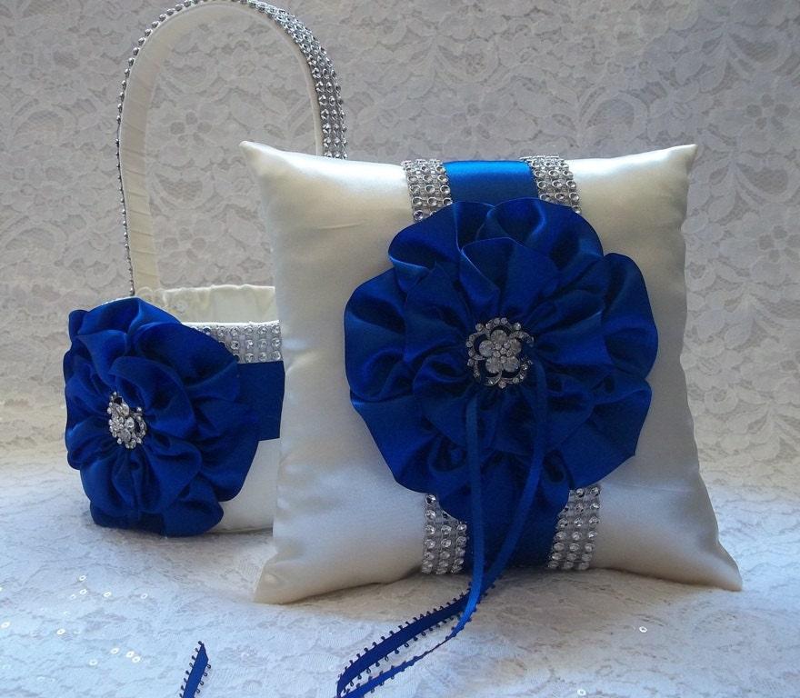 Flower Girl Baskets And Matching Ring Bearer Pillows : Ivory flower girl basket and matching ring bearer pillow with